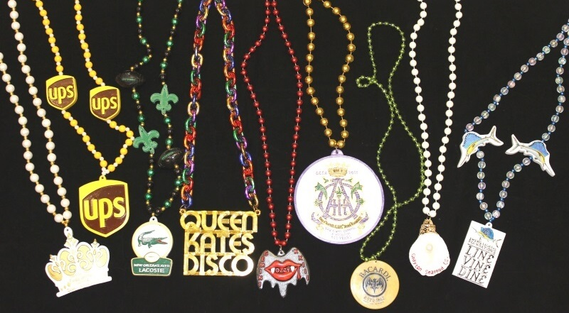 Assorted custom Mardi Gras beads with medallions