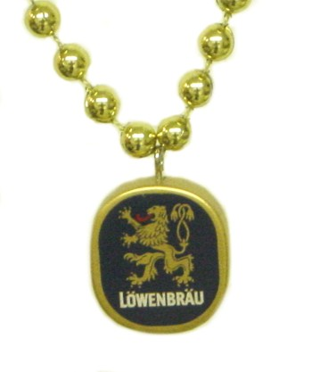 "Custom beads with ""LOWENBRAU"" medallion"