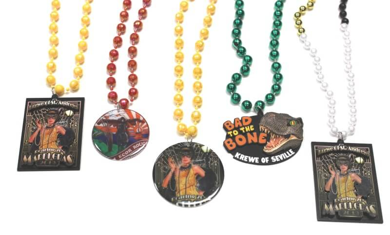 Branded Mardi Gras beads with medallions
