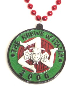 "Custom beads and medallion for ""The Krew of Italia"""