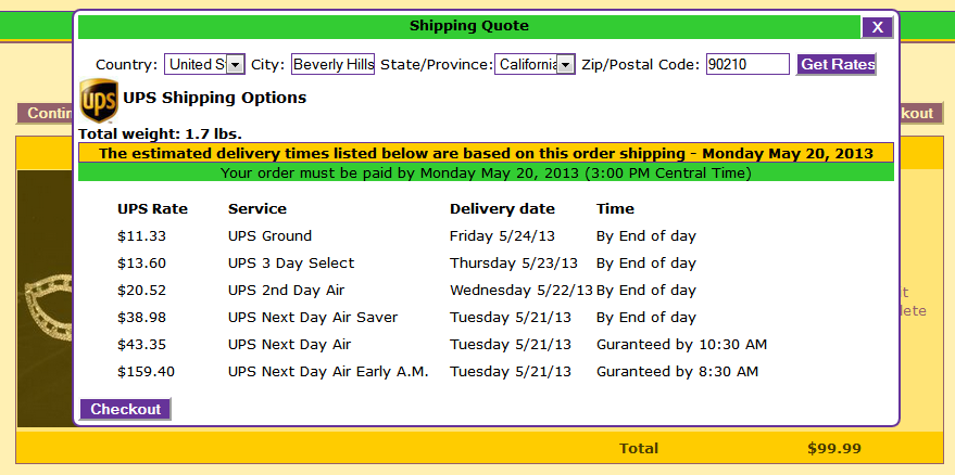 Shipping Costs and Options