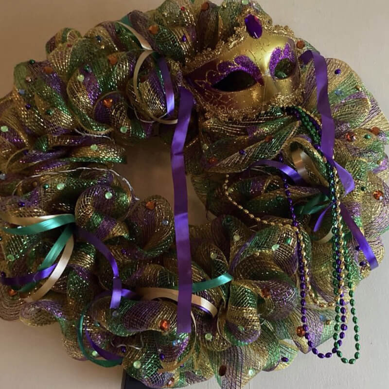 Custom Mardi Gras wreath with mask and beads