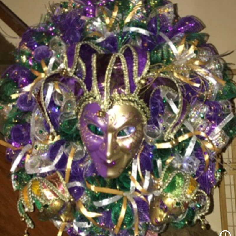 Custom Mardi Gras wreath with masquerade mask