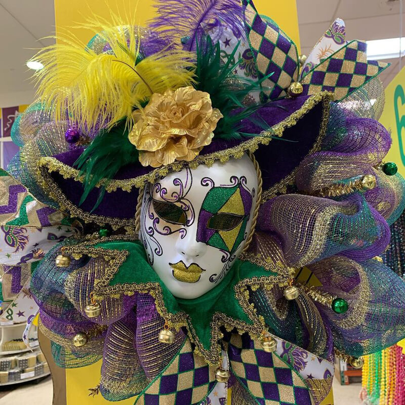 Custom Mardi Gras wreath with jester mask