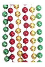 33 inch 7mm Round Metallic Red Green Gold Throw Beads