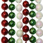 33 inch 7mm Round Metallic Red Green White AB Throw Beads