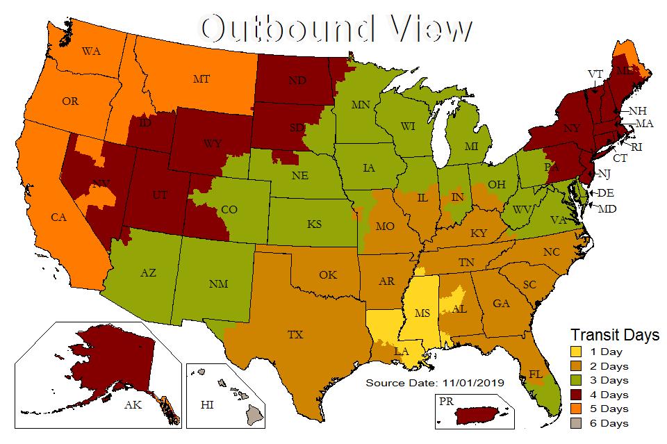 UPS Ground Transit Time Map