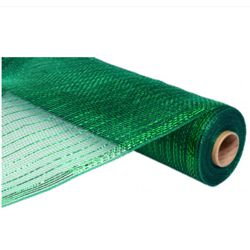 21in x 30ft Metallic Emerald Green Deco Mesh Ribbon