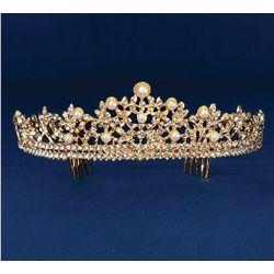 2in Tall Gold Rhinestone Tiara w/ Pearl Accents