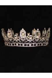Rhinestone King Crown in Silver