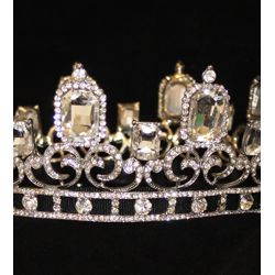 Rhinestone King Crown in Silver