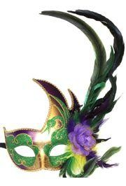 Elegant and glamorous Venetian style  Mardi Gras Feather Masks  are ideal for  Masquerade parties ,  Proms  and themed  Weddings . These feather mask include peacock feathers, pheasant feathers, and ostrich feathers. popular mask with feathers include masquerade mask, venetian masks, and macrame mask.