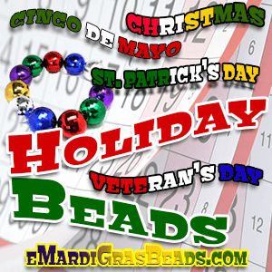 Holiday Mardi Gras Beads Galore in all Holiday Colors!