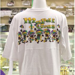 Mardi Gras Short Sleeve Carnival T-Shirt w/ Monkey Design - Size LARGE