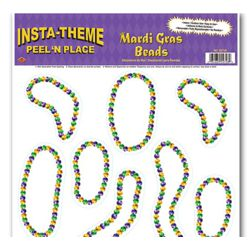 Mardi Gras Beads Peel N Place Stickers/ Clings