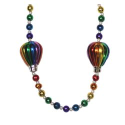 Hot air balloon medallion on 42 inch rainbow color hand-strung Masrdi Gras necklace