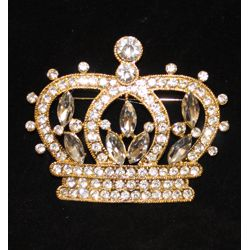 3.5in Rhinestone Gold Crown Pin