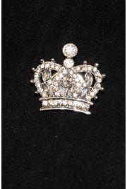 Rhinestone Silver Crown Pin w/ Magnet