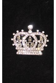 Rhinestone Silver Crown Pin