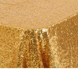 88in Wide x 156in Long Rectangle Gold Sequin Tablecloth