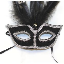 Black and Silver Feather Felt Mask
