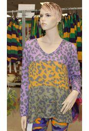 Mardi Gras Leopard Print T-shirt Long Sleeve XLarge