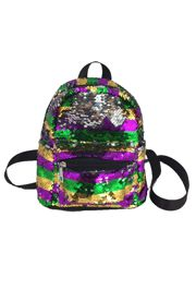Mardi Gras Sequin School/ Travel Large Mini Backpack