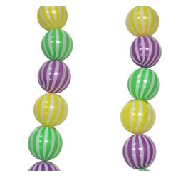 12.5ft Long 75mm Purple, Green and Gold Mardi Gras Ball Garland