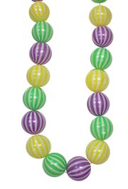 25ft Long 75mm Purple, Green and Gold Mardi Gras Ball Garland