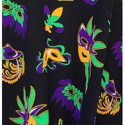 Mardi Gras Long Sleeve Bamboo T-Shirts w/Mask Design Size Small