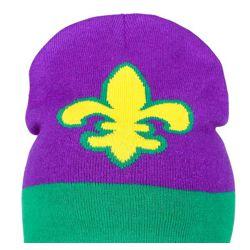 Mardi Gras Knit Beanie/ Hat w/ Fleur de lis Design