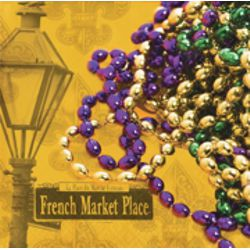 5in x 5in Mardi Gras Beverage Napkins with Beads Design