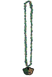 34in Braided Beads with Glitter Comedy/ Tragedy Medallion