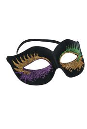 Black Cat Eye Mask with Purple/ Green/ Gold Glitter Bursts