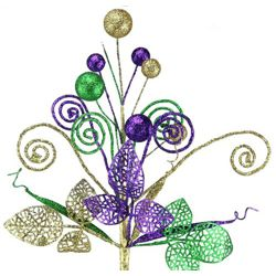 16in Long Mardi Gras Glitter Ball/ Coil/ Tube Leaf Pick