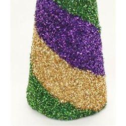 18in Zigzag Glitter Cone Shaped Mardi Gras Centerpiece