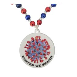 42in 12mm/6mm Red/ Blue and White Pearl United We Stand Coronavirus Necklace