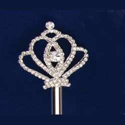18in Long Silver Rhinestone Crown Scepter
