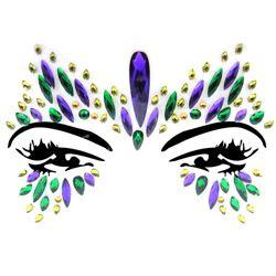 Body/ Face Mardi Gras Crystal Jewels/ Tattoo Butterfly Design