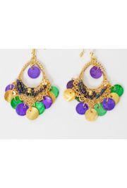 3.5in Oval Dangle Mardi Gras Earrings