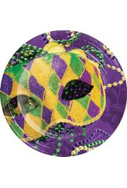 9in Mardi Gras Dinner Plates with Mask Design