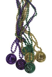 33in 7mm Purple, Green, Gold Beads with 2in Mardi Gras Doubloons