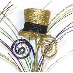 32in Long Mardi Gras Spray w/ Top Hats and Tendrils