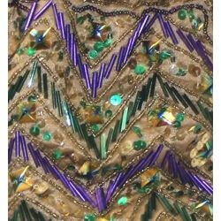 Beaded Sequin Mardi Gras Drawstring Zig Zag Bag