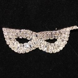 2in Wide x 0.75in Tall Rhinestone Silver Mask Pin/ Brooch
