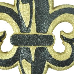 18in Tall Glittered Black/ Gold Fleur-De-Lis Plaque