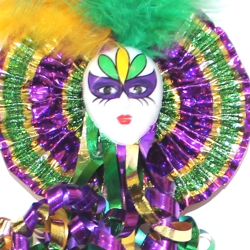 18in Long Mardi Gras Jester Face Wand