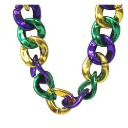 36in Jumbo Link Chain Necklace in Mardi Gras Colors: Purple/ Green/ Gold