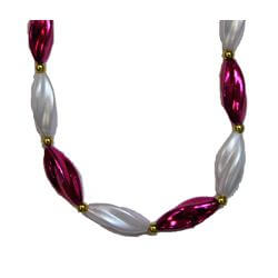 38in Metallic Hot Pink/ White Pearl Swirl Necklace