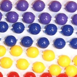 33in 7mm Round Rainbow Non-metallic Assorted Colors Mardi Gras Beads